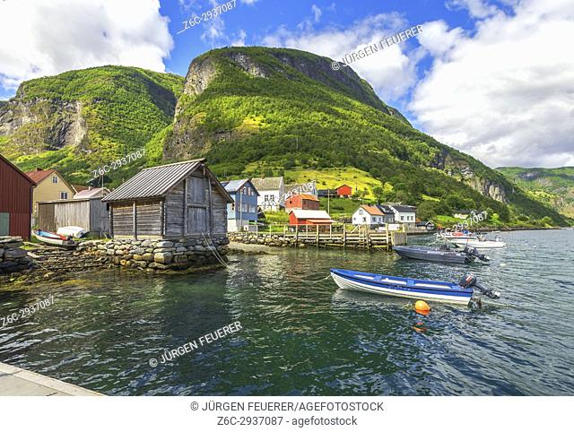 Village Undredal and the Sognefjord with old boathouse, municipality of Aurland, Norway, Scandinavia