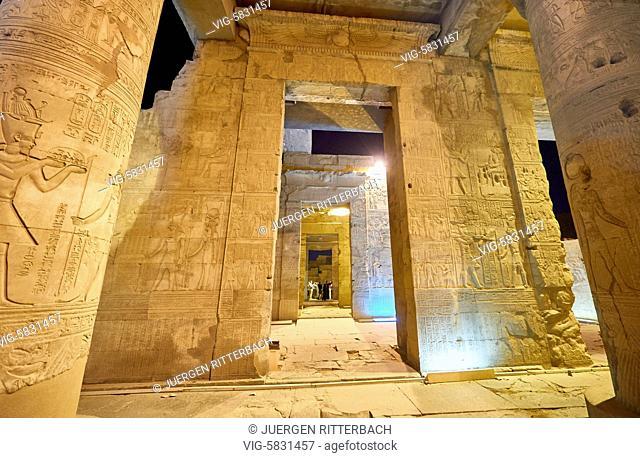 EGYPT, KOM OMBO, 09.11.2016, night shot of illuminated temple of Kom Ombo, Egypt, Africa - Kom Ombo, Egypt, 09/11/2016