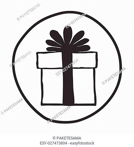 Doodle Gift Box icon. Infographic symbol in a circle. Line art style graphic design element. Web button. Free, present, holiday shopping, Black Friday concept