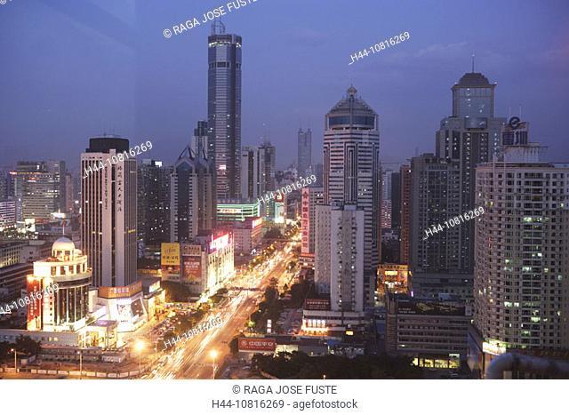 China, Asia, Guangdong province, Shenzhen town, city, Shennan Donglu avenue, at night, night, Skyline, streets, town