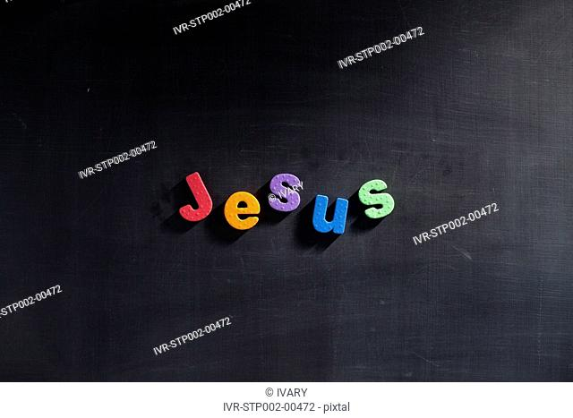 Single word 'Jesus' in multi colored alphabets