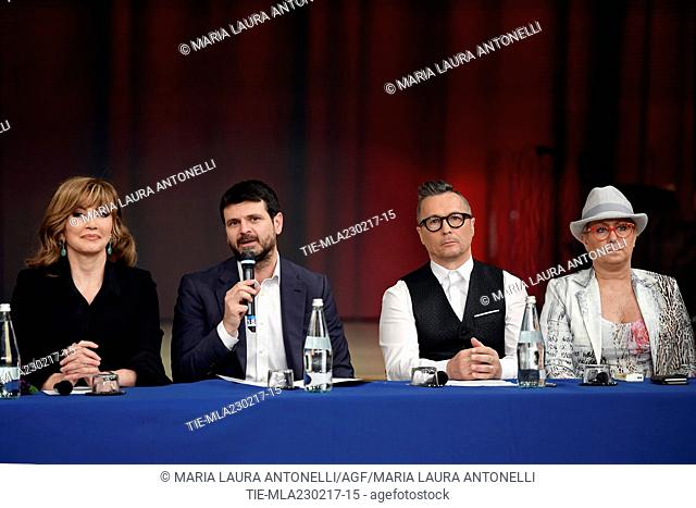 The conductor Milly Carlucci, Andrea Fabiano, Paolo Belli, Carolyn Smith during the photo call of talent show ' Ballando con le stelle ' Rome, ITALY-23-02-2017