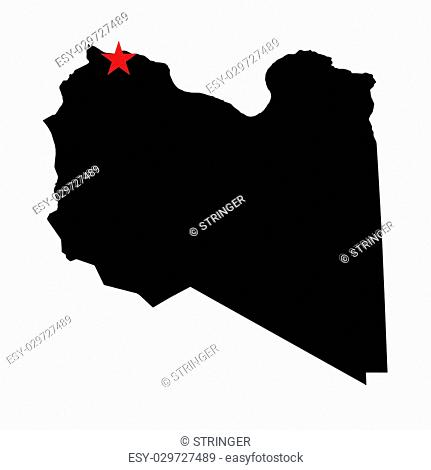 The Caital City Highlighted with a Star on the Shape of the Country of Libya