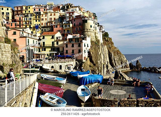 The picturesque village of Manarola. Manarola, Cinque Terre, La Spezia, Liguria, Italy