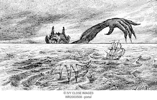 This illustration dates to 1891 and is a fanciful depiction of Satan, also known as the devil, lurking at the horizon—thought by many in centuries and millennia...