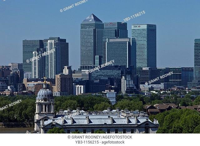 Canary Wharf Financial District from Greenwich, London, England