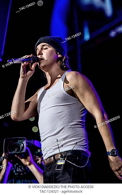 Lukas Forchhammer of Lukas Graham performing at 93.3 FLZ's iHeartRadio Jingle Ball on December 17, 2016 at Amalie Arena in Tampa, Florida