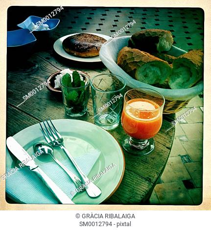 Breakfast on the terrace of a typical Fez, Morocco, Africa
