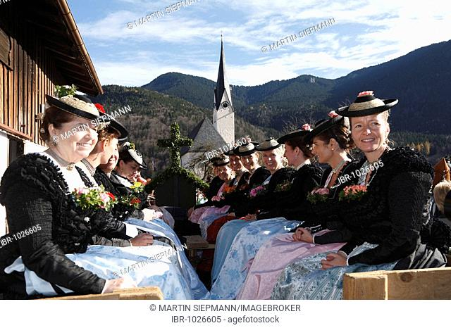 Women wearing traditional costumes during Leonhardifahrt, the feast day of Saint Leonard of Noblac, Kreuth, Tegernsee Valley, Upper Bavaria, Germany, Europe