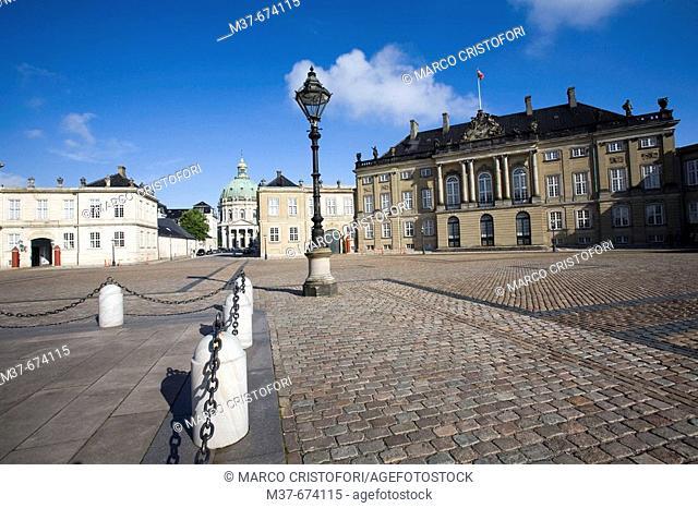 Amalienborg and Marmorkirken church. Copenhagen. Denmark
