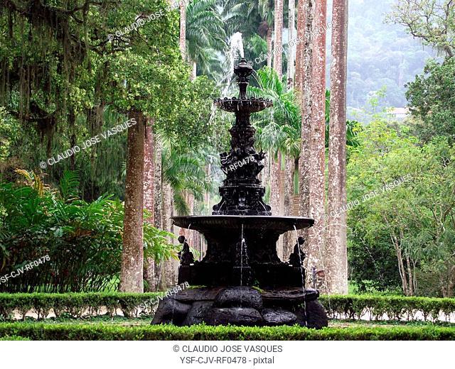Plants, nature, Fountain, Botanical Gardens, City, Rio de Janeiro, Brazil