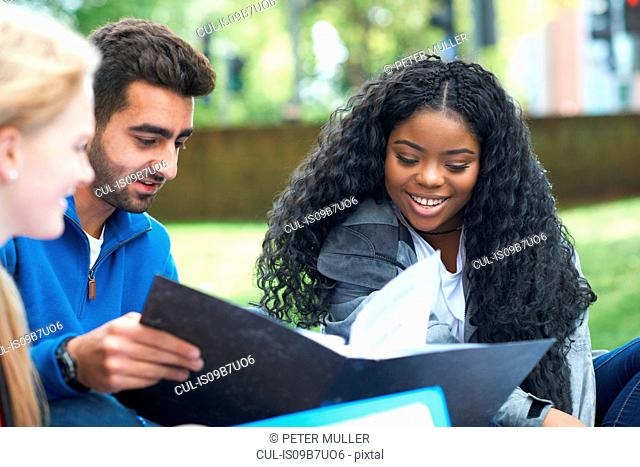 Students sitting outdoors studying