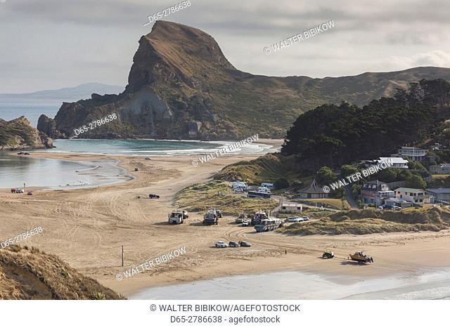 New Zealand, North Island, Castlepoint, elevated view of the boat harbor