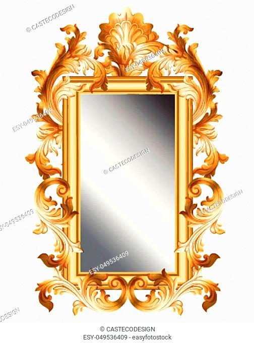 Mirror golden frame Vector realistic 3d volume design illustration