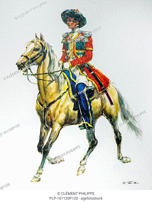 Officer on horseback of the Russian Empire in 1835 parade Cossack uniform