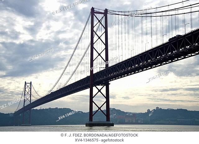 25 de Abril suspension bridge, Alcantara, Lisbon, Portugal, Europe