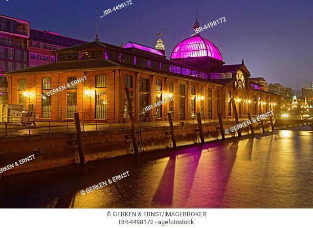 Event Center, former fish auction hall on the Elbe, Altona Fish Market, Night Scene, Altona, Hamburg, Germany