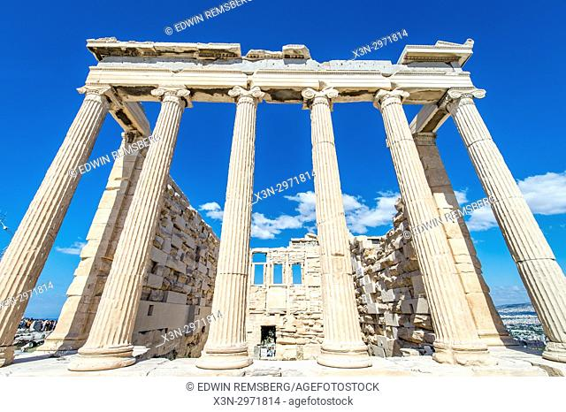 Athens Greece- Historic ruins of the ancient Acropolis - temple of Erechtheion (421–406 BC)