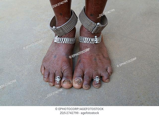 Traditional silver jewelry on ankles, BHARIA TRIBE, Kendaikhar village, Korba dist, Tahsil kathgora, Chattisgarh, India