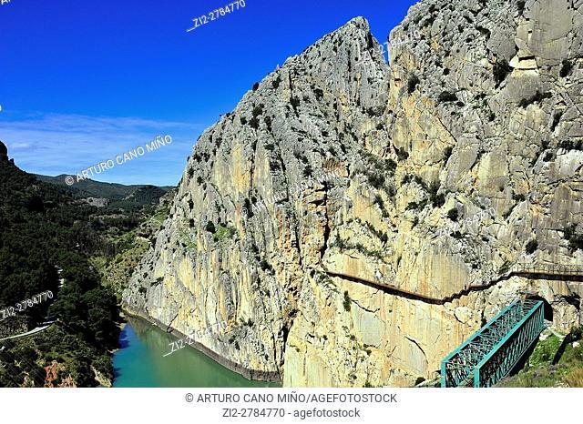 The Guadalhorce river at the Desfiladero de los Gaitanes Natural Site. Malaga province, Spain
