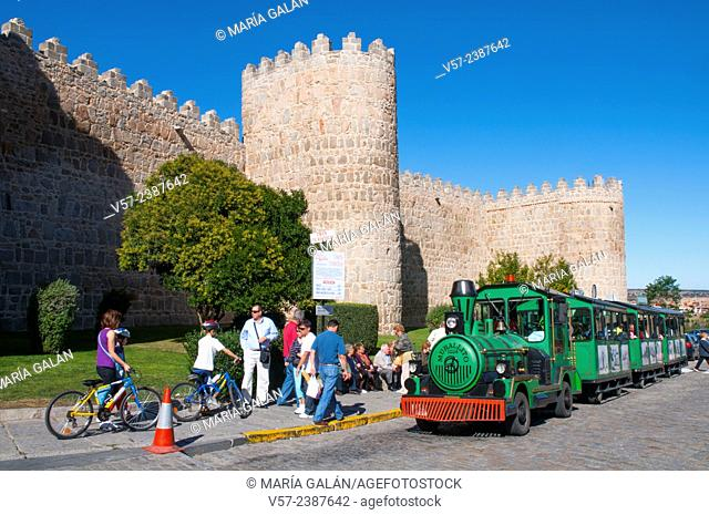 City walls and Murallito touristic train. Avila, Castilla Leon, Spain