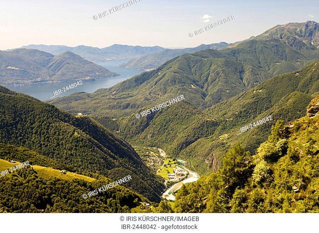 High trail of Alpe Nimi, Valle Maggia, overlooking lake Lago Maggiore, Ticino, Switzerland, Europe