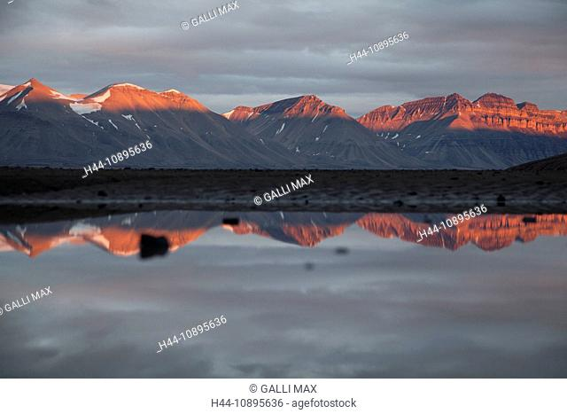 Evening, afterglow, evening mood, Arctic, arctic ocean, Barents Sea, Billefjorden, Antarctic Ocean, fjord, island, isle, island