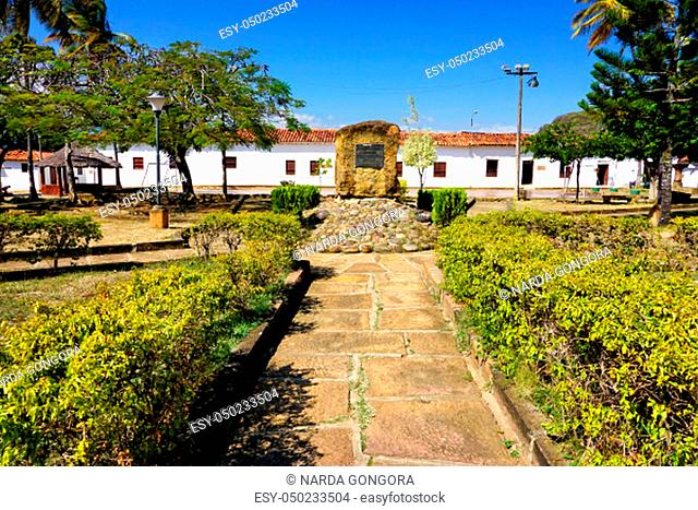 Beautiful view of the Main Square with background of colonial houses in Guane, Colombia