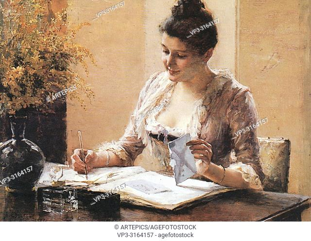 Edelfelt Albert - Woman Answering a Letter