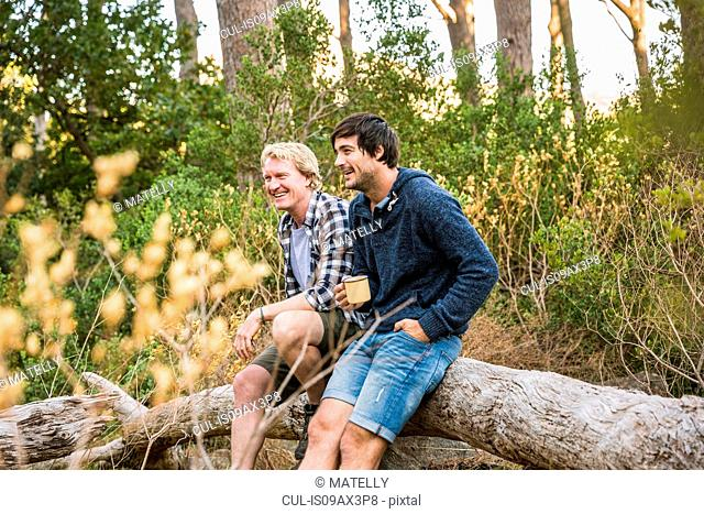 Two hikers leaning against fallen tree in forest, Deer Park, Cape Town, South Africa