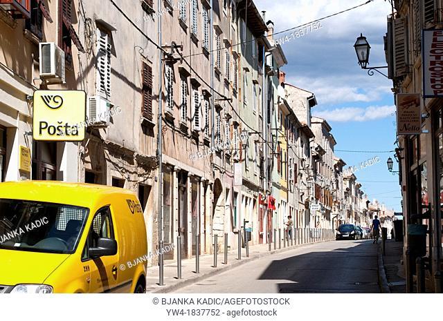 Street with Post Office van, Vodnjan, Central Istria, Croatia
