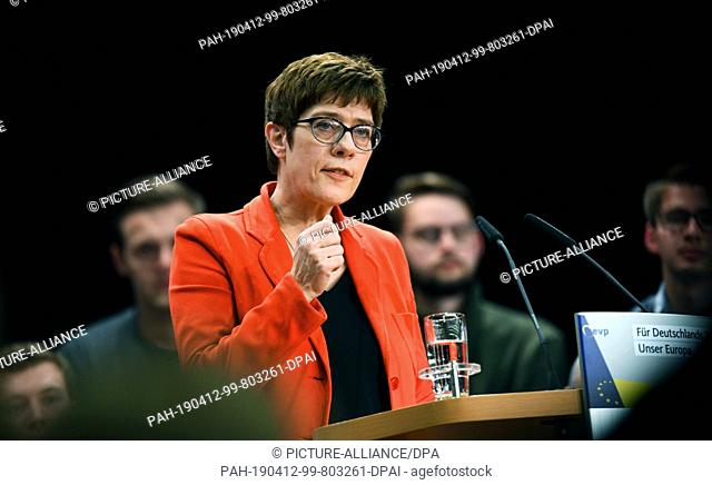 12 April 2019, North Rhine-Westphalia, Eslohe: CDU leader Annegret Kramp-Karrenbauer speaks at a European election campaign event