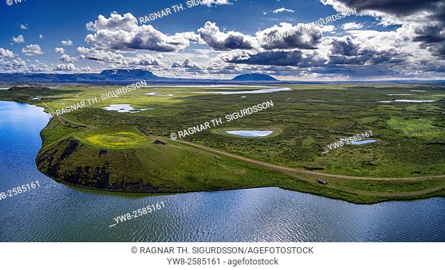 Aerial view of pseudo crater and unique rock formations at Kalfastrond, Lake Myvatn, Iceland. Image shot using a drone