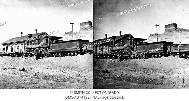 Stereograph of a train at Green River Station, Sweetwater County, Wyoming, 1869. Image courtesy USGS