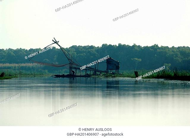 Shore-operated lift net - Early morning - Phatthalung - Southern Thailand, Asia - April, 2014