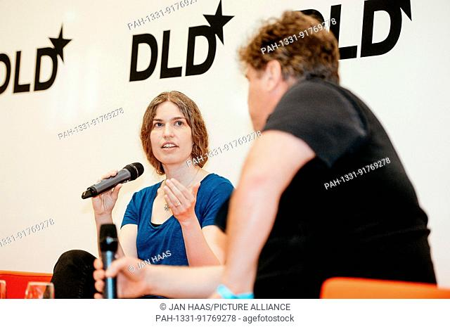 BAYREUTH/GERMANY - JUNE 21: Hilray Mason (Fast Forward Labs, l.) gestures talking with Author Andrew Keen on the stage during the DLD Campus event at the...