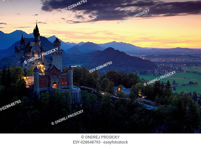 Beautiful evening view of the fairy tale Neuschwanstein castle in Bavaria, Germany