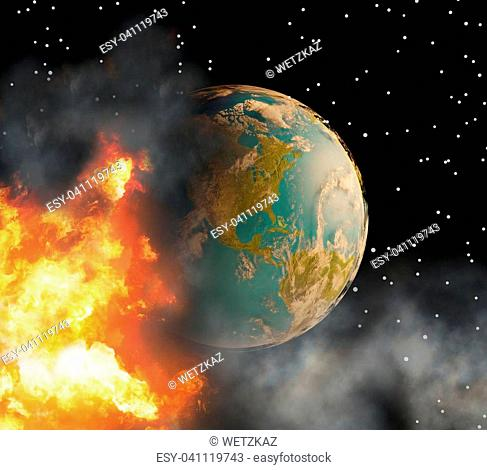 state of emergency with world globe with fire flames and smoke 3d-illustration. elements of this image furnished by NASA