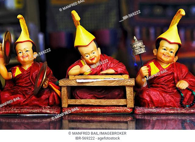Funny figures in the gift shop, Drepung monastery near Lhasa, Tibet, Asia