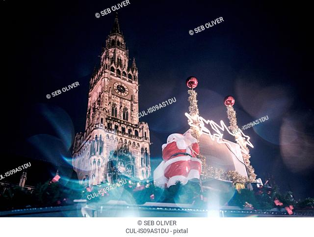 Christmas decoration and The New Rathaus (Town Hall) in Marienplatz, Munich, Germany