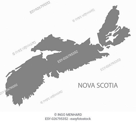 Nova Scotia Canada Map in grey