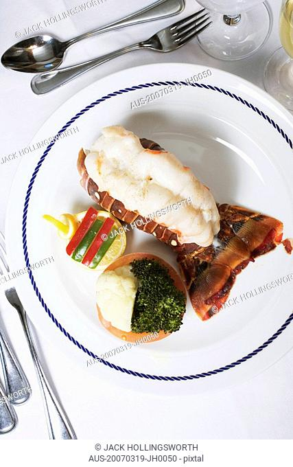 High angle view of a lobster dish on a plate