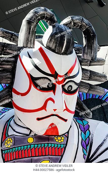 Japan, Hoshu, Tokyo, Asakusa, Nebuta Festival, Giant Kabuki Actor Face