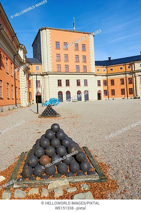 Cannonballs and cannons, Vaxholm Fortress, Sweden, Scandinavia