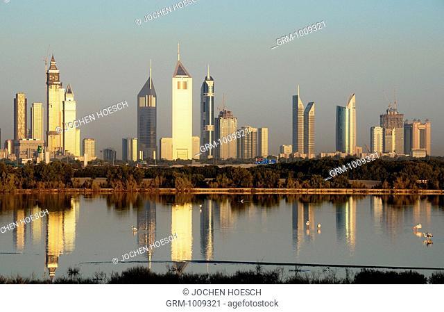 Skyline of Sheikh Zayed Road at sunrise, Dubai, UAE