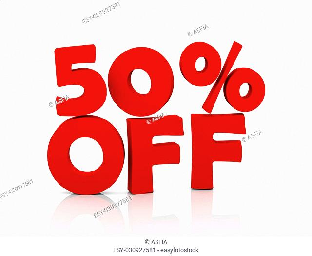3d illustration of text presentation of 50% off word on reflective background