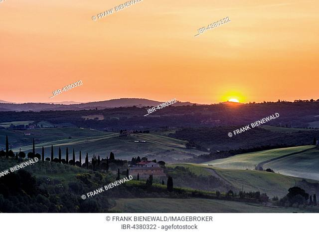 Typical green Tuscan landscape in Val d'Orcia with a farm on a hill, fields, cypresses, trees and morning fog at sunrise, San Quirico d'Orcia, Tuscany, Italy