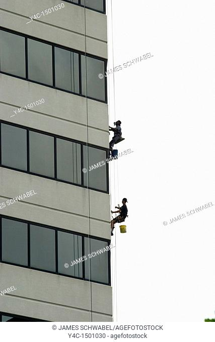 Window washers on building in Columbus, Ohio