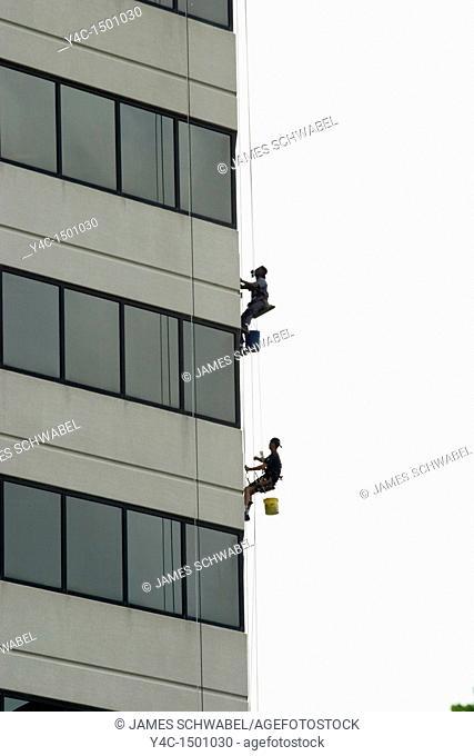 Window washers on building in Columbus, Ohio
