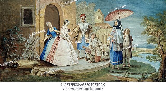 Antoine Coypel - . Molière and comedians acting in George Dandin ou le Mari confondu in 1667. 17th century.